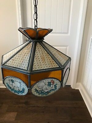 Vintage Tiffany Style Stained Glass Hanging Lamp With Chain & Bulb(See Notes)