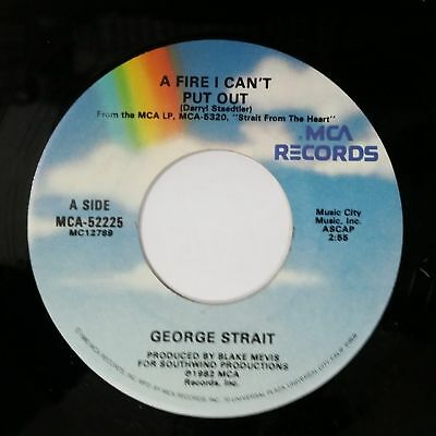 """GEORGE STRAIT A Fire I Can't Put Out b/w Honky Tonk Crazy 7"""" 45rpm Vinyl VG++"""