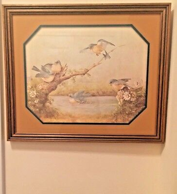 "Vintage Print  ""After A Summer Shower"" Bluebird Signed by  Horgie Morrow-Framed"