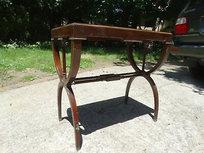 Vintage Antique Table With Brass Decor