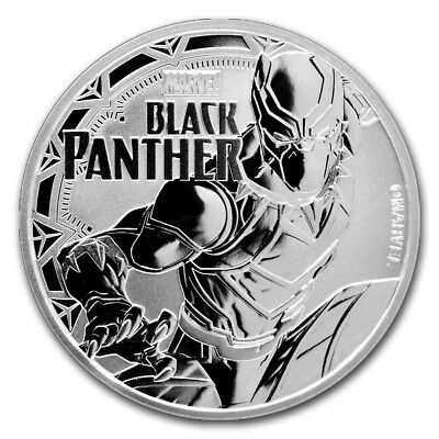 2018 Tuvalu 1 Oz Fine Silver $1 Marvel Series BLACK PANTHER Tuvalu Coin AIRTITE