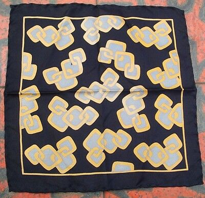 "Vintage Men's 11"" Pocket Square/Handkerchief Black/Grey/Gold Rolled Hem Acetate"