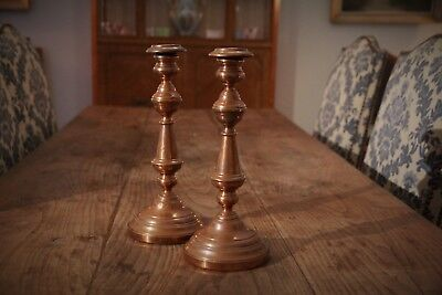 Matching Pair of Antique French Copper Round Base Candlesticks