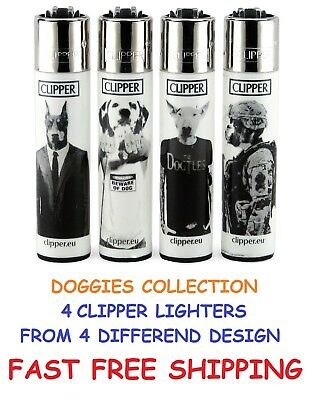 4 Full Size New CLIPPER Refillable Cigarette Lighters DOGGIES DOGS LIGHTER Dog