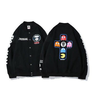 0d7b338ee1640 Baseball Black AAPE BY A Bathing Ape BAPE Sweatshirt Coat Hoodie Jacket  Fleece