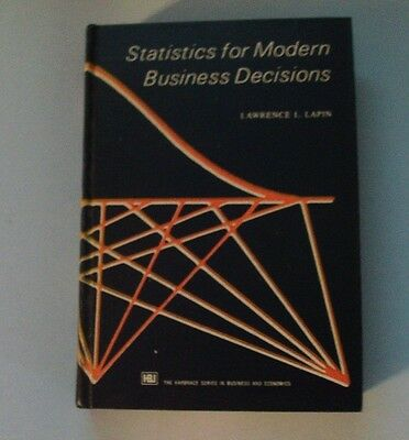 VINTAGE BOOK - 1973 STATISTICS FOR MODERN BUSINESS DECISIONS by Lawrence Lapin