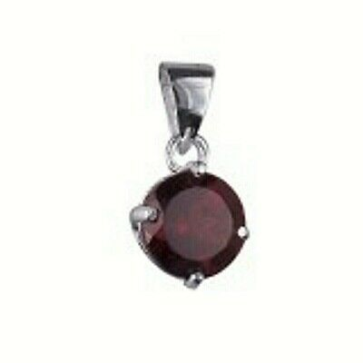 NEW Genuine Solid 925 Sterling Silver Round Natural Garnet Ladies Pendant