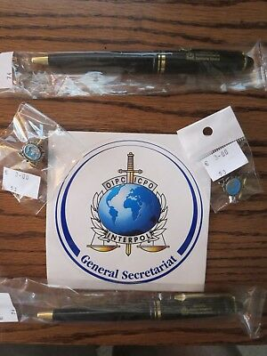 Interpol Oipc Icpo Rare Collectible Items Lapel Pins Writing Pens Wow!