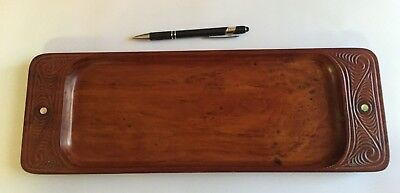 "VINTAGE Hand Carved Burl Wood or Rosewood Tray with abalone inlay 16""x5.5"""