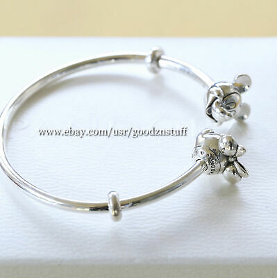 "Authentic Pandora Silver Mickey & Minnie Open Bangle 6.9"" (17.5cm) 597494-2"