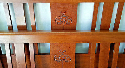 Double Bed Ends, Silky Oak, Carved, Federation Era Antique.