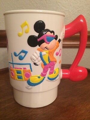 Pair of Vintage Walt Disney World On Ice Souvenir Mugs Mickey Mouse Seven Dwarfs