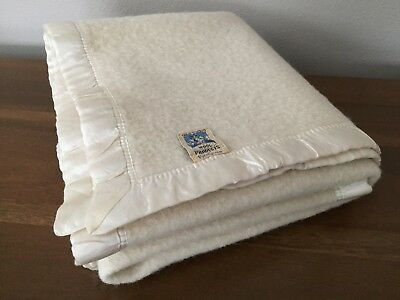 "Vintage Kenwood Wool Blanket Ivory Satin Binding 40"" x 56"""