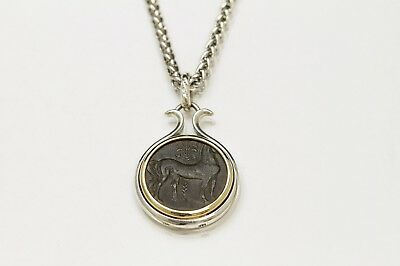 Sterling Silver Necklace, 14K Gold Bezel, Genuine Ancient Coin, Greek, Cert -071