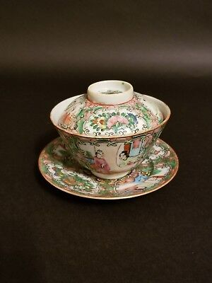19th.c Beautiful Chinese Rose Medallion Tea Set with Lid H#003
