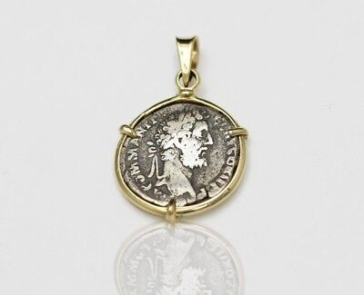 14K Gold Pendant with Ancient Silver Coin, Roman Commodus - 077