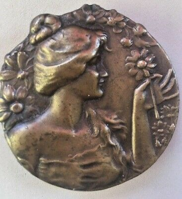 Belt Buckle Antique VIntage Bergamot Brass Works Bronze Art Nouveau Woman  J-48