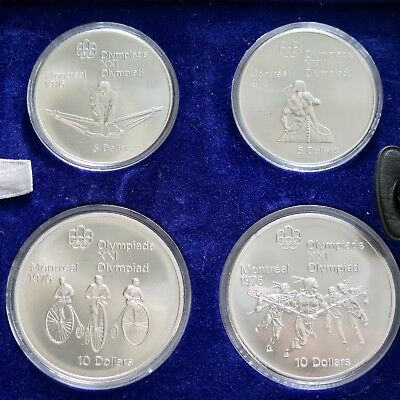 1976 Silver Canadian Montreal Olympic Games Set -4 Coin Set