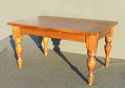 Vintage French Country Butcher Block Rustic Alder Wood Dining Room Table