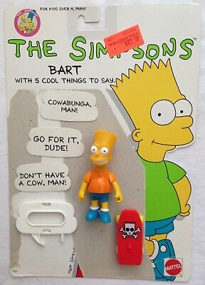 1990 Mattel The Simpsons Bart Action Figure with 5 Cool Things to Say