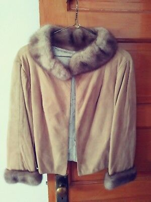 Tan Suede Vintage Jacket with Fur Collar and Cuffs.