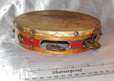 Antique Hand Made Wood Red Tambourine Drum With Painted Sides Unique Musical