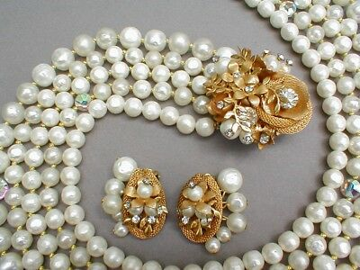 Vintage Faux Pearl & Crystal Necklace - Ornate Brooch Clasp & Clip Earrings