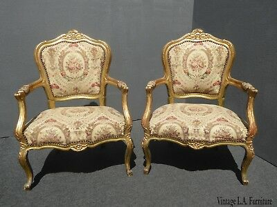 Pair Antique French 19th Century Styl Louis XVI Gold Rococo Ornate Accent Chairs