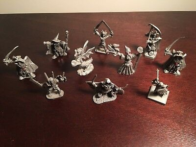 Pewter Fantasy Figurines Lot 10 Pieces Wizards Warriors Dragon