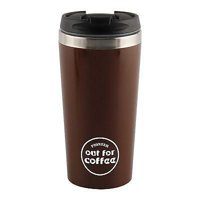Tea Stainless Steel Thermal Insulated Mug Lid 420ml Cup With Coffee Travel Brown QhrtsdC