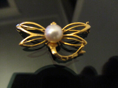 Vintage Estate 14k Yellow Gold Cultured Pearl Mayfly Insect Brooch Pin!