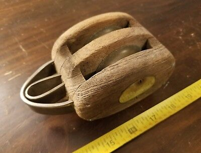 "Vintage Double Wood Sailboat Block / Pulley With Bronze Sheave (2"" Sheave)"