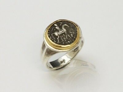 Sterling Silver Ring, 18K Gold top, Genuine Ancient Coin, Indo-Scythian, Cert080