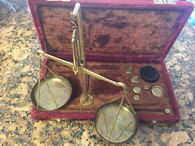 Vintage Brass Scale With Weights And Red Velvet Box