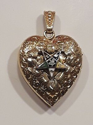 Vintage Or Antique 10K Gf Eastern Star Oes Enamel Heart Locket Pendant