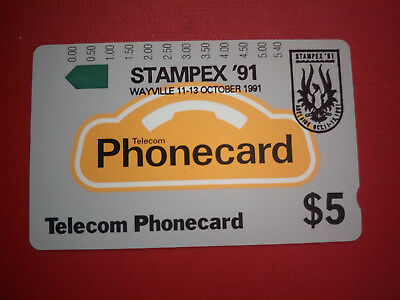 Mint $5 Generic Phonecard Overprinted Stampex '91 in Black Prefix 45