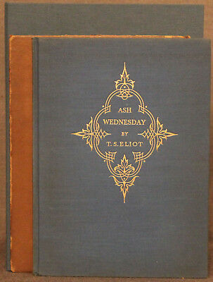 T. S. Eliot ASH WEDNESDAY Fountain Press 1930 First Edition Signed 112/600