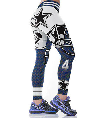 Dallas Cowboys Blue #4 Leggings S/M-XXL (4-16) football Game Wear Womens Gifts