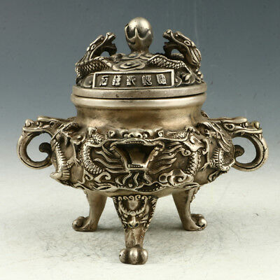 Chinese Exquisite Silvering Copper Hand Carved Dragon Incense Burner AAA0082