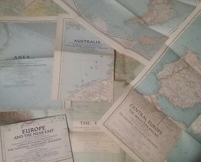 Lot of 8 Vintage Maps All Dated Mostly 1940's National Geographic