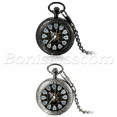 Antique Retro Roman Numberal Dial Patterned Hand Winding Mechanical Pocket Watch