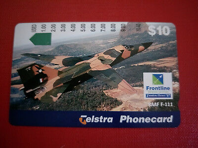 Mint $10.00 Air Force F111 Frontline Tandem Thrust Phonecard Prefix 1396