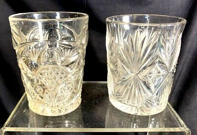 Pair Antique American Pressed Glass Whiskey Glasses