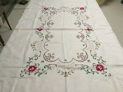 vintage cross stitch embroidery cotton tablecloth +6 napkings 170x123cm