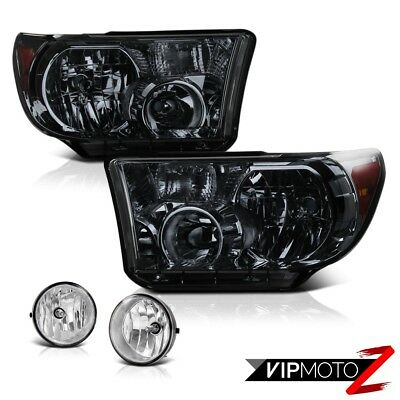 Smoke Tinted Crystal Headlight+Clear Fog Light+Wiring+Switch 07-13 Toyota Tundra