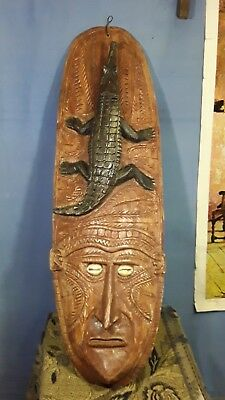 Vintage Tribal New Guinea Wall Hung Face And Crocodile Mask