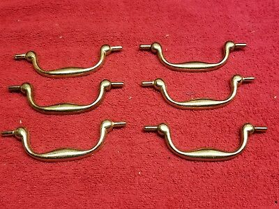 "(6) Dresser Chest Drawer Drop Bail Swing Pull Handles 3 1/2 "" Zinc / Light Brass"
