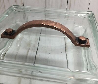 Antique Copper Hammered Metal Handle Drawer Pull - Rustic Vintage Romantic