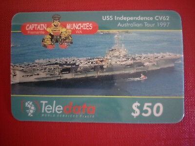 Teledata $50 USS Independence 1997 Tour & Captain Munchies Phonecard