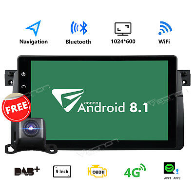 For BMW E46 1999 2000 2001 2002 2003 2004 Android 8.1 GPS Car Stereo Radio CAM W
